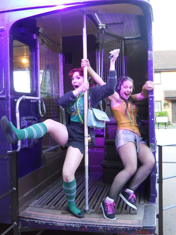Ludella Hahn and Sarah Michelle candid Harry Potter tour